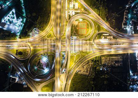 Night Traffic On Crossroad Junction Transport Technology