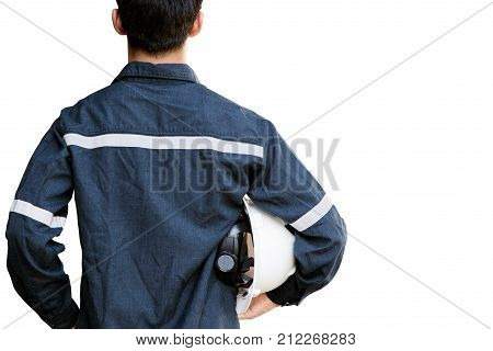 Asian manEngineer or Technician in white helmet glasses and blue working shirt suit holding safety helmet isolated on white mechanic and Oil and Gas industrial concept with clipping path.