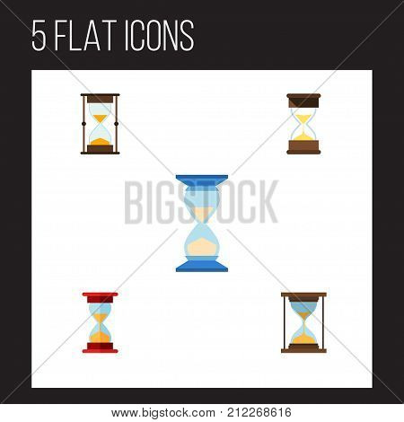 Flat Icon Sandglass Set Of Sand Timer, Loading, Instrument Vector Objects
