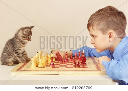Young grandmaster with a pretty kitten plays chess.