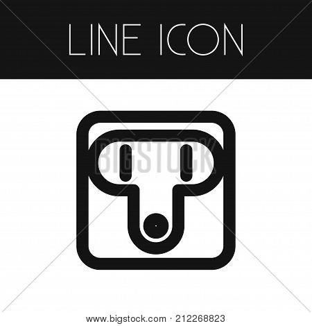 Outlet Vector Element Can Be Used For Socket, Outlet, Unplugged Design Concept.  Isolated Unplugged Outline.