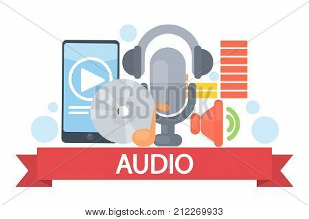 Audio concept illustration. Mic and smartphone, cd disc and headphones.
