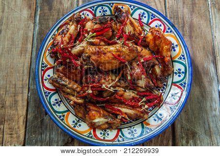 Hot chili sauce buffalo style chicken wings