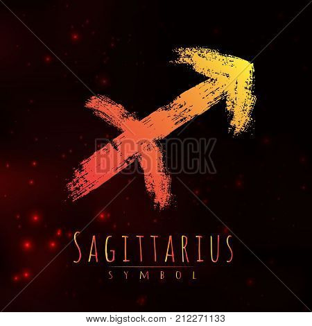 Vector abstract zodiac sign Sagittarius on a dark cosmic background of the space with shining stars. Nebula in form of zodiac sign Sagittarius . Abstract brush stroke sign. Bright modern symbol