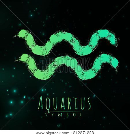 Vector abstract zodiac sign Aquarius on a dark cosmic background of the space with shining stars. Nebula in form of zodiac sign Aquarius . Abstract brush stroke sign. Bright modern symbol. Logo.