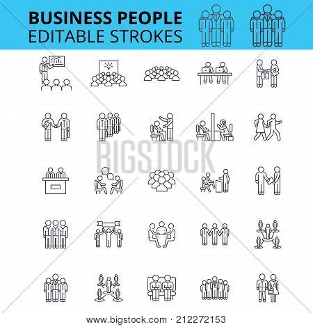 Business people ouline vector icons. Editable strokes. Group of business people signs set. Business team concept thin line icons. People and work and communication, businessmen logo
