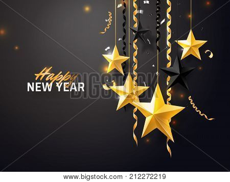 Merry Christmas and 2018 New Year background for holiday greeting card, invitation, party flyer, poster, banner. Gold, black, star, serpentine, realistic confetti on black background.