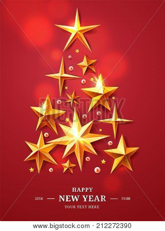 Christmas and New Years Tree made of realistic cutout foil, metal gold stars isolated on red background with luminous elements. For your design layout, mock-up. 3d illustration