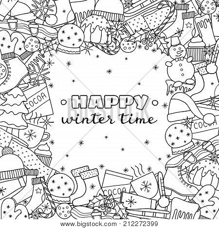 Square background with different uncolored hand darwn winter items and lettering. Detailed frame design. Used clipping mask.