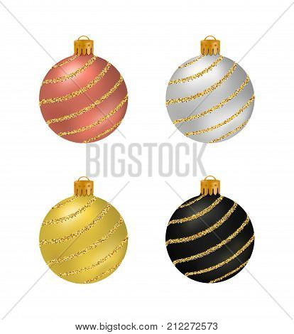 Set of Christmas balls or baubles with smooth surface and golden glitter stripes isolated on white background.