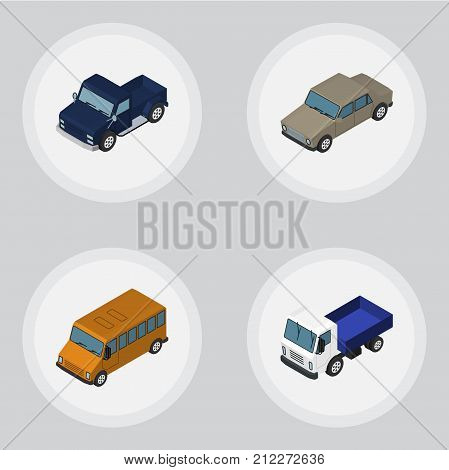 Isometric Automobile Set Of Lorry, Autobus, Auto And Other Vector Objects