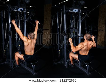 Bodybuilding concept. Exercises tutorial. Muscular man doing exercise for back with lat pulldown cable machine in gym. Fitness man show how to do thrust of the upper block to the chest. Back view