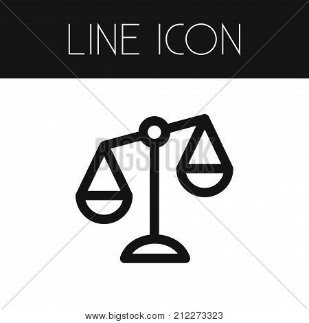 Balance Vector Element Can Be Used For Court, Balance, Scale Design Concept.  Isolated Court Outline.