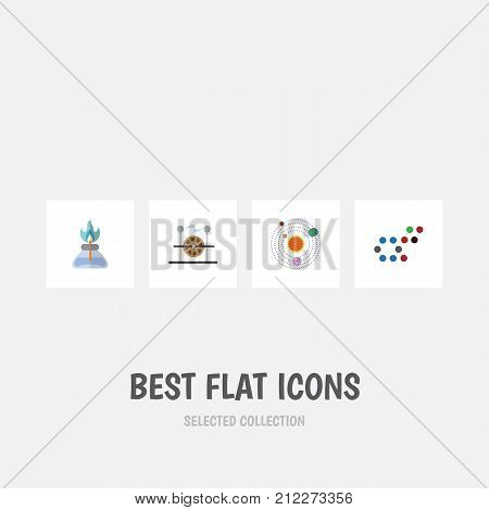 Flat Icon Knowledge Set Of Milky Way, Electrical Engine, Molecule And Other Vector Objects