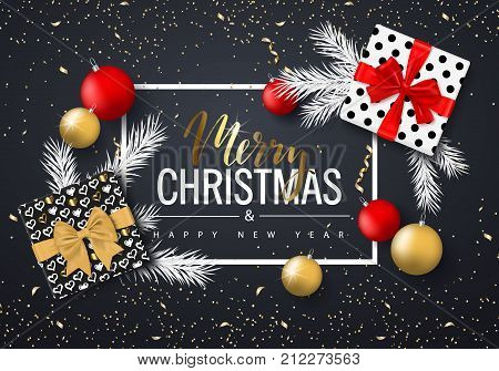 Merry Christmas and Happy New Year background for holiday greeting card invitation party flyer poster banner. Christmas tree balls fir branches gift box and confetti. Vector illustration