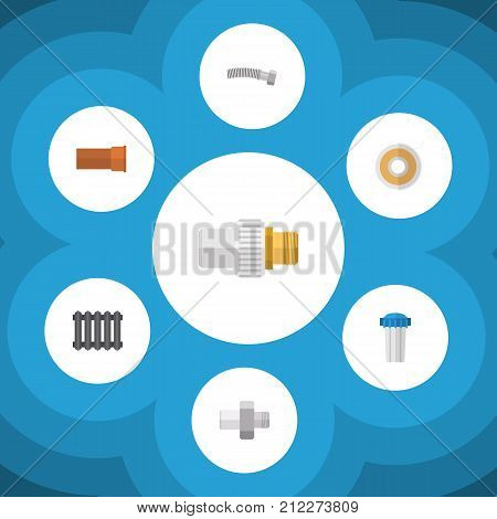 Flat Icon Industry Set Of Corrugated Pipe, Heater, Water Filter And Other Vector Objects