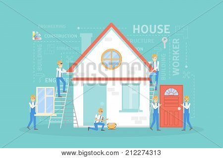 House building illustration. Workers constructing home with tools and materials.