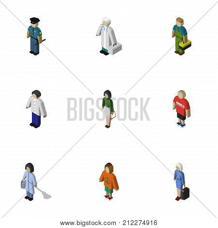 Isometric Human Set Of Housemaid, Lady, Officer And Other Vector Objects