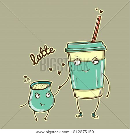 Vector cartoon characters, latte with cream, isolated