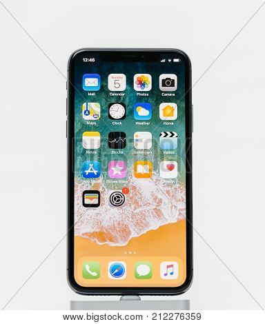 PARIS FRANCE - NOV 5 2017: New Apple iPhone X 10 smartphone isolated white background with home screen apps