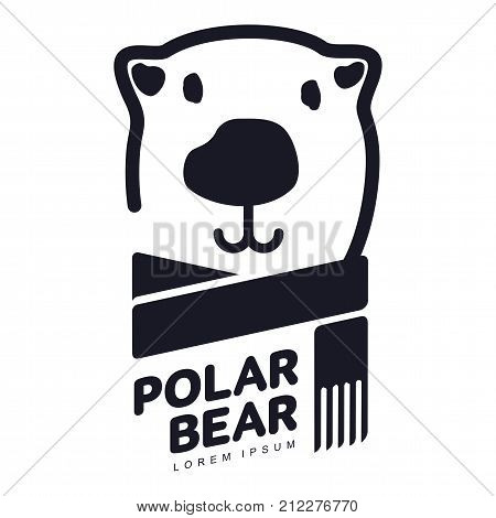 Stylized graphic polar bear logo templates. Collection of creative polar bear logotype templates, growth, development, power concept. Vector illustration isolated on white background.