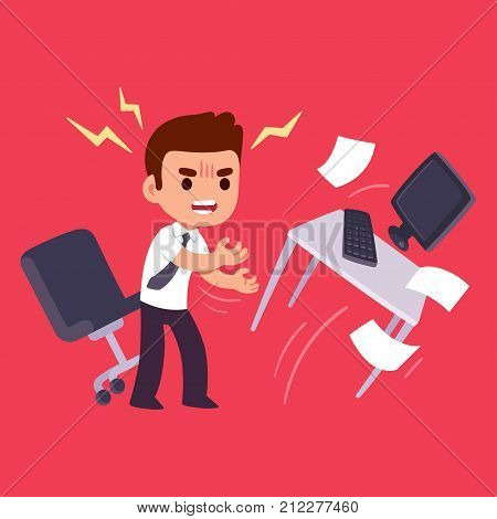 Angry office worker flipping table. Workplace stress and job frustration concept. Flat cartoon vector illustration.