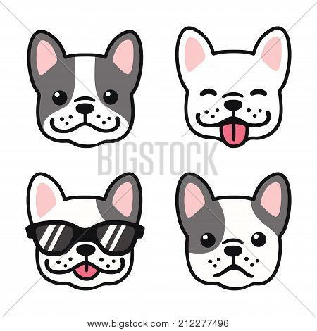 French Bulldog hand drawn cartoon face set. Cute Frenchie puppy drawing vector illustration.