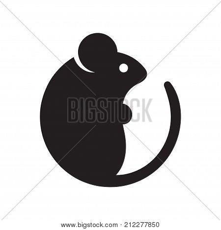 Simple cartoon mouse logo. Modern geometric mouse silhouette vector illustration.