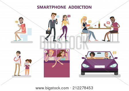 Smartphone addiction concept illustration. People eat, sleep and drive with phone.