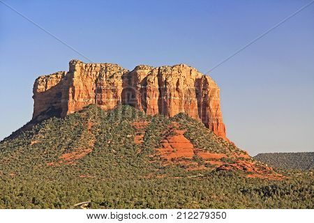 The Red rock formation of Courthouse Butte in Red Rock State Park along Oak Creek Canyon, a riparian habitat in Verde Valley, within Yavapai county, Sedona, Arizona, USA including Coconino National Forest.