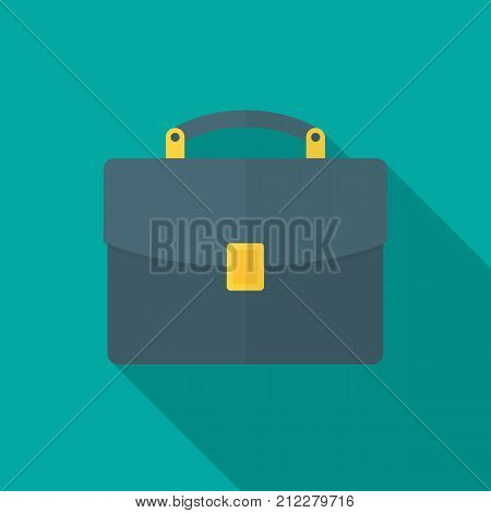 Briefcase icon with long shadow. Flat design style. Briefcase simple silhouette. Modern minimalist icon in stylish colors. Web site page and mobile app design vector element.