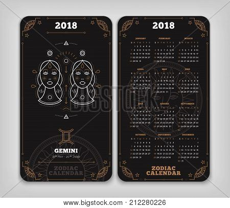 Gemini 2018 year zodiac calendar pocket size vertical layout Double side black color design style vector concept illustration.