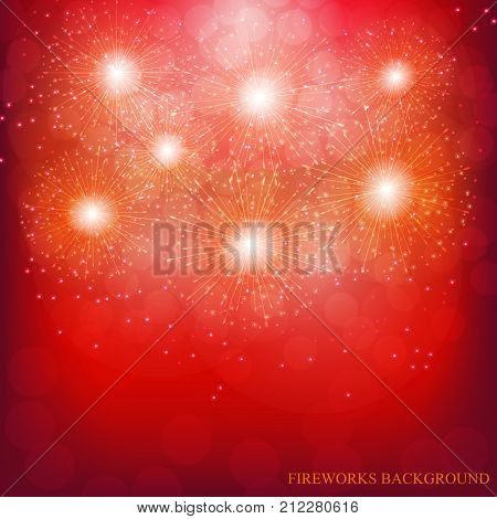 Brightly Colorful Fireworks. Holiday fireworks background. Red vector illustration of Fireworks.