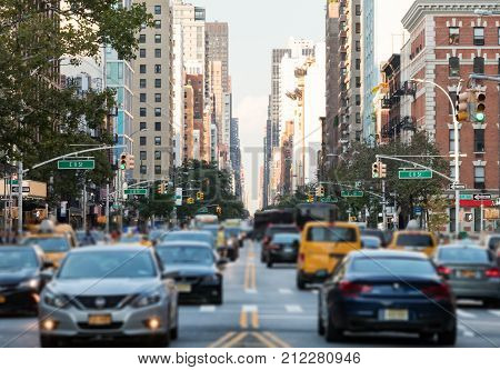Traffic along 3rd Avenue in Manhattan New York City