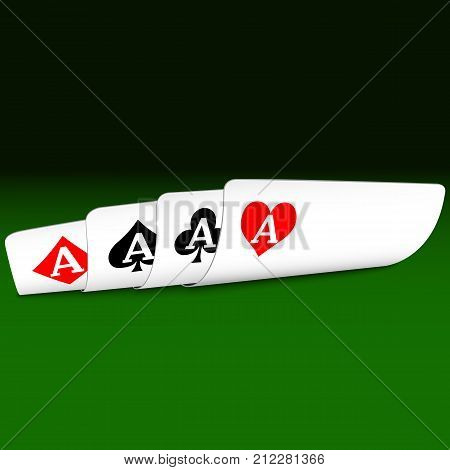 Four aces bent to the face, secretly looking from all, on a green table. Casino. Stock Illustration EPS 10