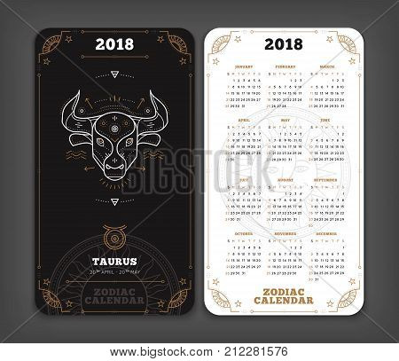 Taurus 2018 year zodiac calendar pocket size vertical layout Double side black and white color design style vector concept illustration.