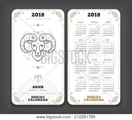 Aries 2018 year zodiac calendar pocket size vertical layout Double side black and white color design style vector concept illustration.