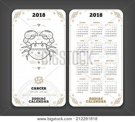 Cancer 2018 year zodiac calendar pocket size vertical layout Double side white color design style vector concept illustration.