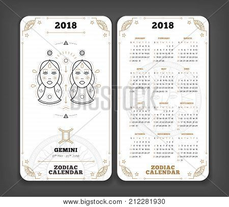 Gemini 2018 year zodiac calendar pocket size vertical layout Double side white color design style vector concept illustration.