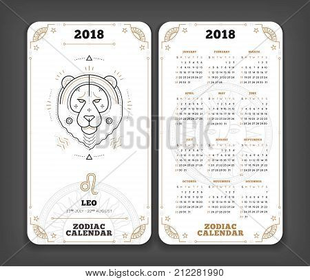 Leo 2018 year zodiac calendar pocket size vertical layout Double side white color design style vector concept illustration.
