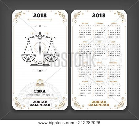 Libra 2018 year zodiac calendar pocket size vertical layout Double side white color design style vector concept illustration.
