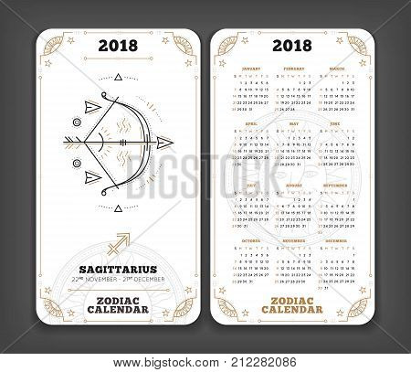 Sagittarius 2018 year zodiac calendar pocket size vertical layout Double side white color design style vector concept illustration.