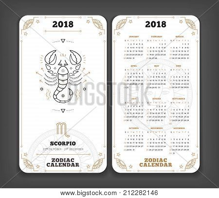 Scorpio 2018 year zodiac calendar pocket size vertical layout Double side white color design style vector concept illustration.