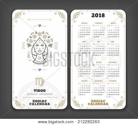 Virgo 2018 year zodiac calendar pocket size vertical layout Double side white color design style vector concept illustration.