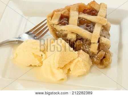 Freshly baked Gooseberry Pie with ice cream.