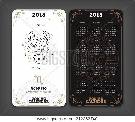Scorpio 2018 year zodiac calendar pocket size vertical layout Double side black and white color design style vector concept illustration.