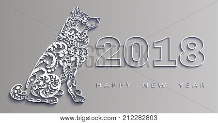 happy new year 2018, the year of the dog.3d effect Vector white paper, origami design. Design elements for holiday cards.