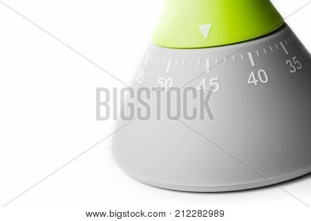 45 Minutes - Three-Quarters Of An Hour - Macro Of An Analog Kitchen Egg Timer