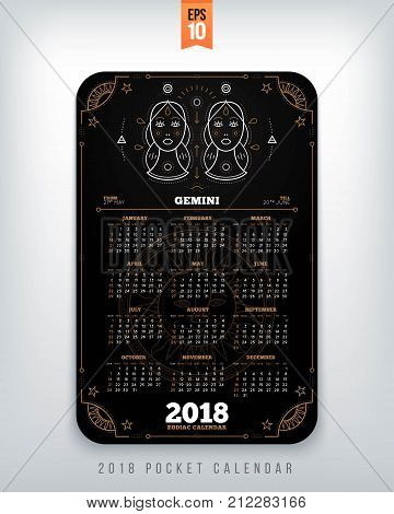 Gemini 2018 year zodiac calendar pocket size vertical layout Black color design style vector concept illustration.