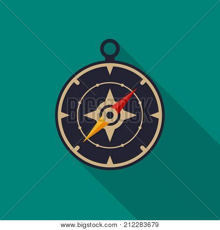 Compass icon with long shadow. Flat design style. Compass simple silhouette. Modern minimalist icon in stylish colors. Web site page and mobile app design vector element.